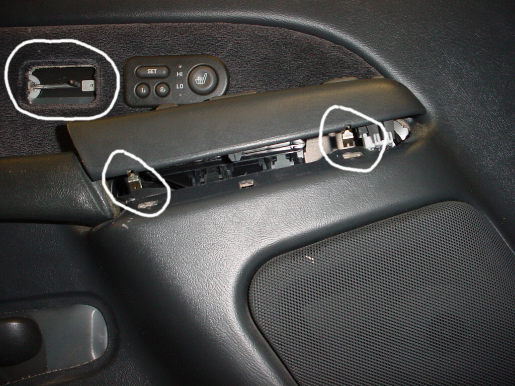 Control panel has two slots under it where metal clips are located. The sliding door lock goes in the hole above. That\u0027s the rod you don\u0027t want to bend ... & GMC Sierra Door Panel Removal