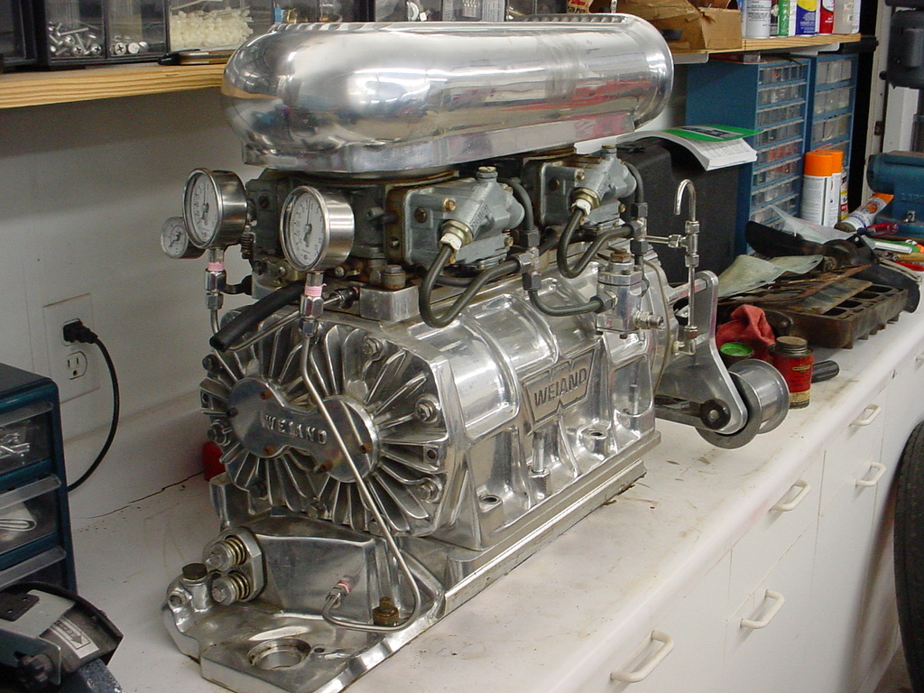 A Weiand 6 71 Blower With 2 Holley 600cfm Carbs